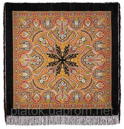 Испанский 710-18, павлопосадский платок шерстяной  с шелковой бахромой