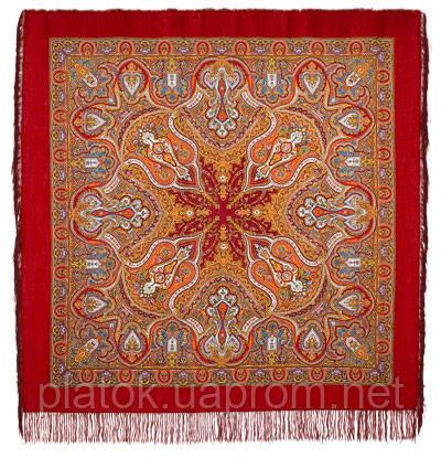 Испанский 710-5, павлопосадский платок шерстяной  с шелковой бахромой