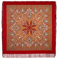 Испанский 710-5, павлопосадский платок шерстяной  с шелковой бахромой, фото 1