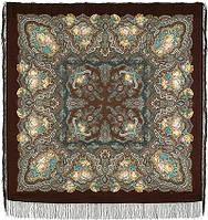 Испанское вино 1171-17, павлопосадский платок шерстяной  с шелковой бахромой, фото 1