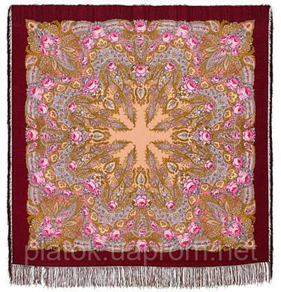 Крым 1542-7, павлопосадский платок шерстяной  с шелковой бахромой