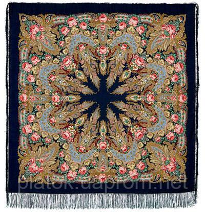 Крым 1542-14, павлопосадский платок шерстяной  с шелковой бахромой