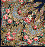 Крым 1542-14, павлопосадский платок шерстяной  с шелковой бахромой, фото 2