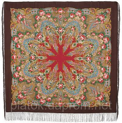 Крым 1542-17, павлопосадский платок шерстяной  с шелковой бахромой