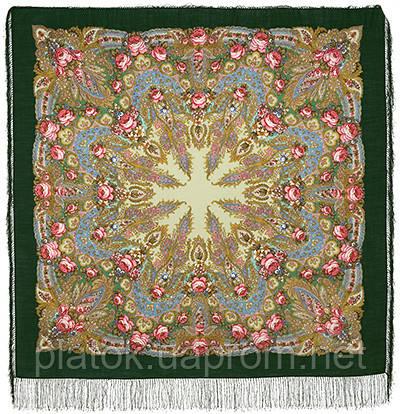 Крым 1542-9, павлопосадский платок шерстяной  с шелковой бахромой