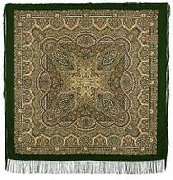 Ларец самоцветный 762-10, павлопосадский платок шерстяной  с шелковой бахромой