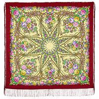 Звездный дождь 1640-5, павлопосадский платок шерстяной (двуниточная шерсть) с шелковой бахромой