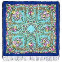 Звездный дождь 1640-13, павлопосадский платок шерстяной (двуниточная шерсть) с шелковой бахромой