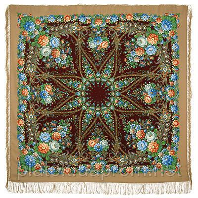 Звездный дождь 1640-16, павлопосадский платок шерстяной (двуниточная шерсть) с шелковой бахромой