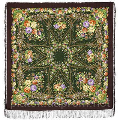 Зоряний дощ 1640-17, павлопосадский хустку вовняної (двуниточная шерсть) з шовковою бахромою