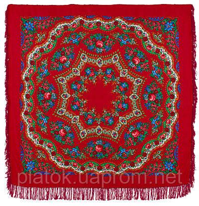 Браслет 351-5, павлопосадский платок шерстяной  с шерстяной бахромой