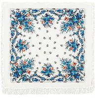 Гжель 321-3, павлопосадский платок шерстяной  с шерстяной бахромой