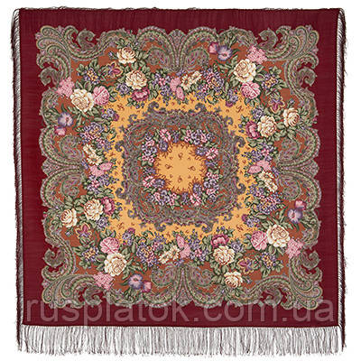 Бал маскарад 982-6, павлопосадский платок шерстяной с шелковой бахромой