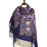 Бал маскарад 982-14, павлопосадский платок шерстяной с шелковой бахромой, фото 2