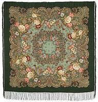 Бал маскарад 982-9, павлопосадский платок шерстяной с шелковой бахромой