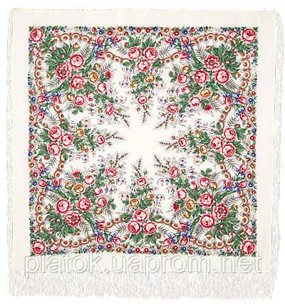 Весеннее утро 555-1, павлопосадский платок шерстяной с шелковой бахромой