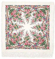 Весеннее утро 555-1, павлопосадский платок шерстяной с шелковой бахромой, фото 1