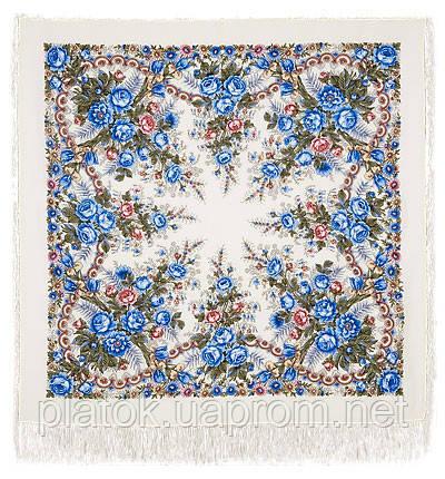 Весеннее утро 555-4, павлопосадский платок шерстяной с шелковой бахромой