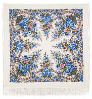 Весеннее утро 555-4, павлопосадский платок шерстяной с шелковой бахромой, фото 1
