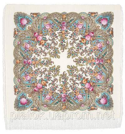 Весенний ручеек 1428-3, павлопосадский платок шерстяной с шелковой бахромой
