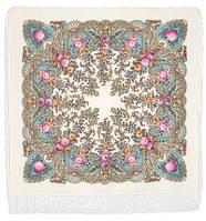 Весенний ручеек 1428-3, павлопосадский платок шерстяной с шелковой бахромой, фото 1