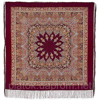 Волшебный танец 1581-7, павлопосадский платок шерстяной с шелковой бахромой