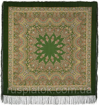 Волшебный танец 1581-9, павлопосадский платок шерстяной с шелковой бахромой