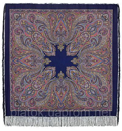 Восточный калейдоскоп 1402-14, павлопосадский платок шерстяной с шелковой бахромой