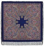 Восточный калейдоскоп 1402-14, павлопосадский платок шерстяной с шелковой бахромой, фото 1