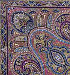 Восточный калейдоскоп 1402-14, павлопосадский платок шерстяной с шелковой бахромой, фото 3