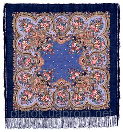 Душевный разговор 1113-14, павлопосадский платок шерстяной с шелковой бахромой