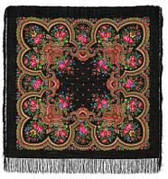 Душевный разговор 1113-18, павлопосадский платок шерстяной с шелковой бахромой