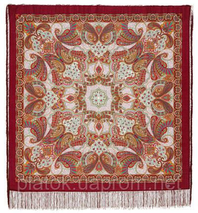 Капельки счастья 1547-7, павлопосадский платок шерстяной с шелковой бахромой