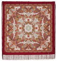 Капельки счастья 1547-7, павлопосадский платок шерстяной с шелковой бахромой, фото 1