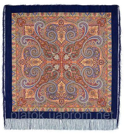 Классический 814-14, павлопосадский платок шерстяной с шелковой бахромой   Первый сорт