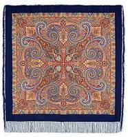 Классический 814-14, павлопосадский платок шерстяной с шелковой бахромой   Первый сорт, фото 1