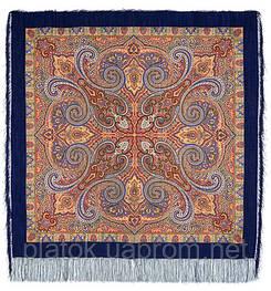 Классический 814-14, павлопосадский платок шерстяной с шелковой бахромой