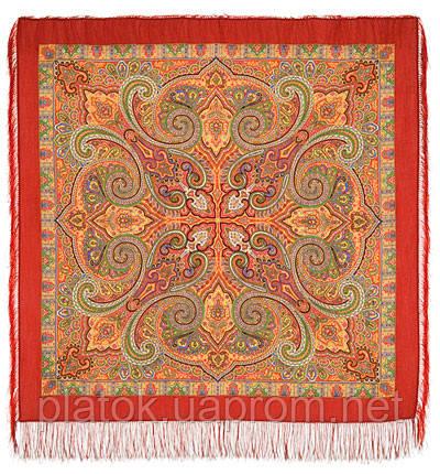 Классический 814-4, павлопосадский платок шерстяной с шелковой бахромой