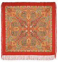 Классический 814-4, павлопосадский платок шерстяной с шелковой бахромой, фото 1