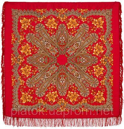 Багрянец осени 1545-5, павлопосадский платок шерстяной с шерстяной бахромой