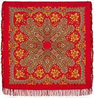 Багрянец осени 1545-5, павлопосадский платок шерстяной с шерстяной бахромой   Первый сорт    СКИДКА!!!