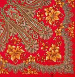 Багрянец осени 1545-5, павлопосадский платок шерстяной с шерстяной бахромой, фото 4
