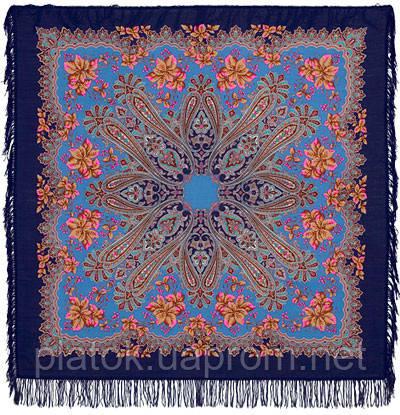Багрянец осени 1545-13, павлопосадский платок шерстяной с шерстяной бахромой