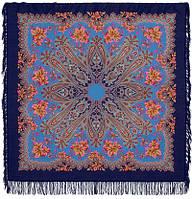 Багрянец осени 1545-13, павлопосадский платок шерстяной с шерстяной бахромой, фото 1