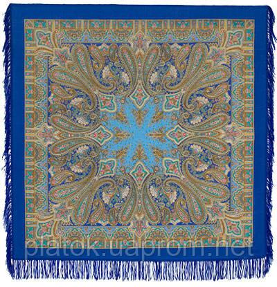 Бирюсинка 1472-13, павлопосадский платок шерстяной с шерстяной бахромой