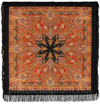 Бирюсинка 1472-18, павлопосадский платок шерстяной с шерстяной бахромой