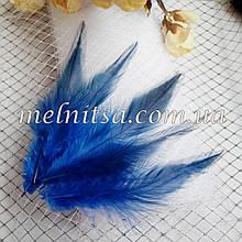 """Перья петуха с окрасом """"под фазана"""", синие,  10-12 см"""