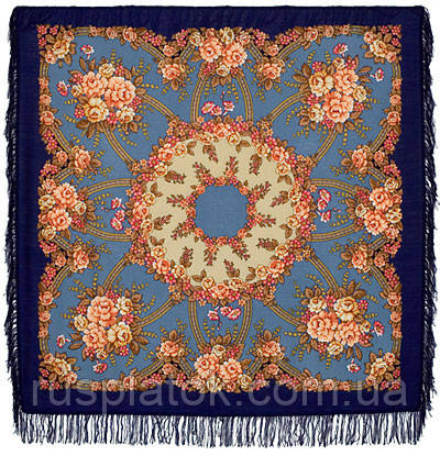 Возвращение 1460-14, павлопосадский платок шерстяной с шерстяной бахромой