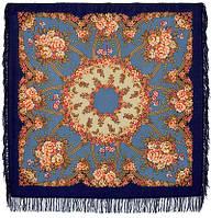 Возвращение 1460-14, павлопосадский платок шерстяной с шерстяной бахромой, фото 1