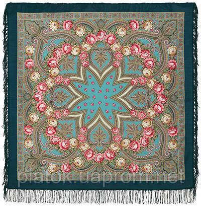 Купчиха 1572-12, павлопосадский платок шерстяной с шерстяной бахромой